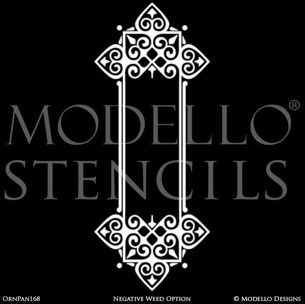 Stenciling and Painting Panel Wall Designs with Ornamental Medallion Wall Designs - Modello Custom Vinyl Stencils