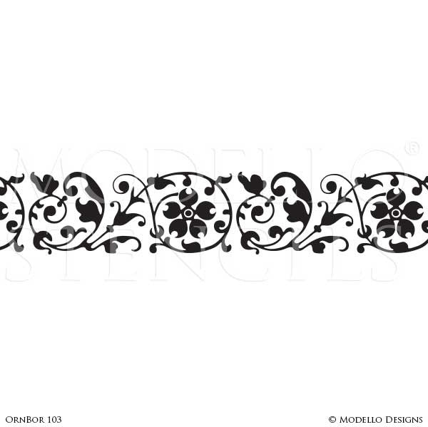 Floral Wall Art with Stenciled Border Designs - Modello Custom Vinyl Stencils