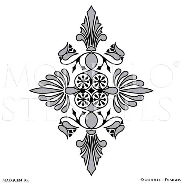 Interior Decorating with Custom Floor Stencils - Modello Designs Marquetry Floor Art