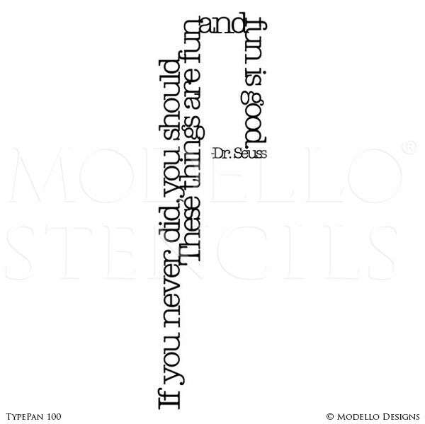 Dr Seuss Quote Wall Art Typography Stencils - Modello Custom Stencils