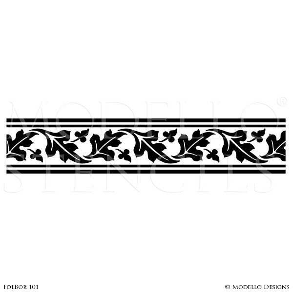 Border decals for painting and stenciling custom wall and ceiling designs modello stencils