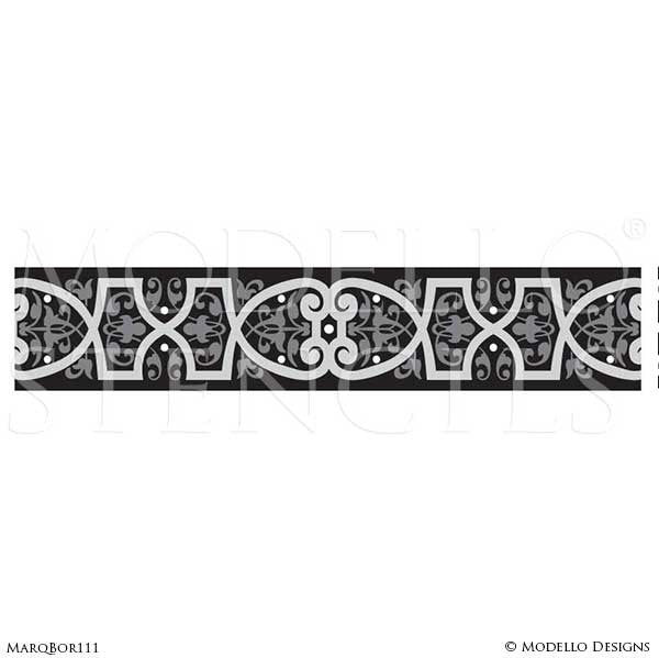 Custom Decorative Border Stencils for Marquetry Stained Floors - Modello Designs