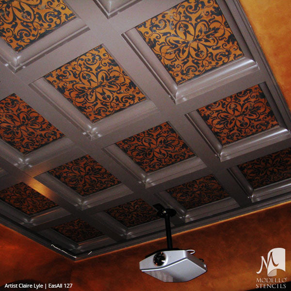 Grand Ceiling Stencils from Modello Designs - Custom Asian Bohemian Pattern