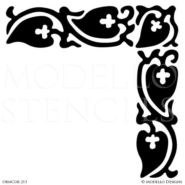 Professional Painted Flooring and Ceiling Corner Stencils - Custom Modello Stencils