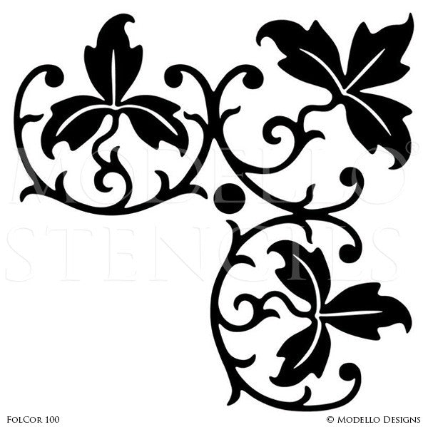 Leaves Vines Designs on Custom Painted Ceilings and Walls - Modello Custom Adhesive Vinyl Corner Stencils