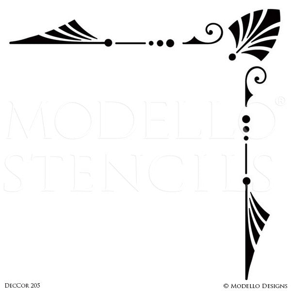 Modern Art Deco Corner Stencils for Custom Ceiling Floor Wall Designs - Modello Custom Stencils