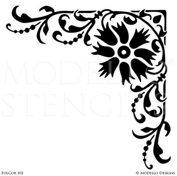 Leaves and Flowers Painted Corner Stencils for Colorful Murals - Modello Custom Stencils