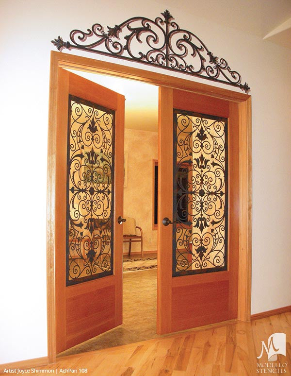... Large Designer Stencils To Peel And Stick Custom Painted Designs On  Glass Doors, Walls,