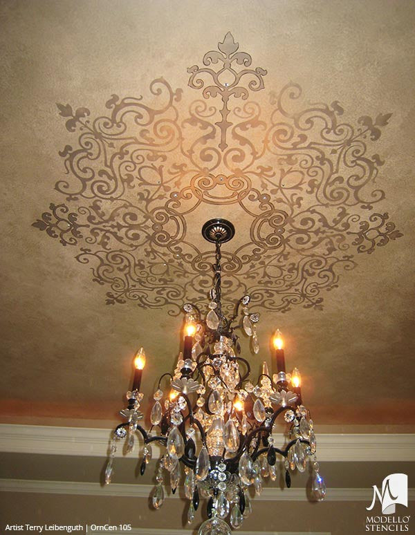 Designer Stencils with Painted Ceiling Decor - Custom Stencils with Medallion Shapes