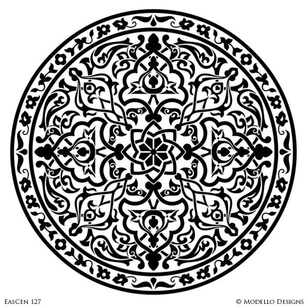 Mandala Design Medallion Ceiling Designs for Custom Interior Decor - Modello Vinyl Stencils