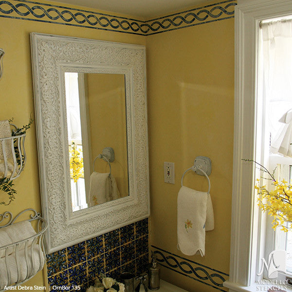 Stenciling and Painting Ceilings and Wall Designs with Ornamental Border Wall Designs - Modello Custom Vinyl Stencils