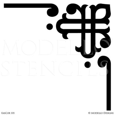 Custom Decorative Corner Stencils for Colorful Walls and Ceiling - Modello Designs