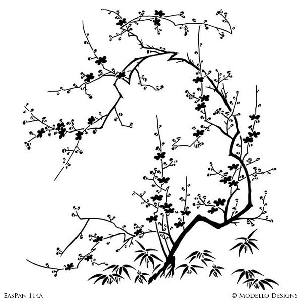 Large Cherry Blossom Tree Wall Mural Stencils - Asian Oriental Decor Painted with Modello Custom Stencils