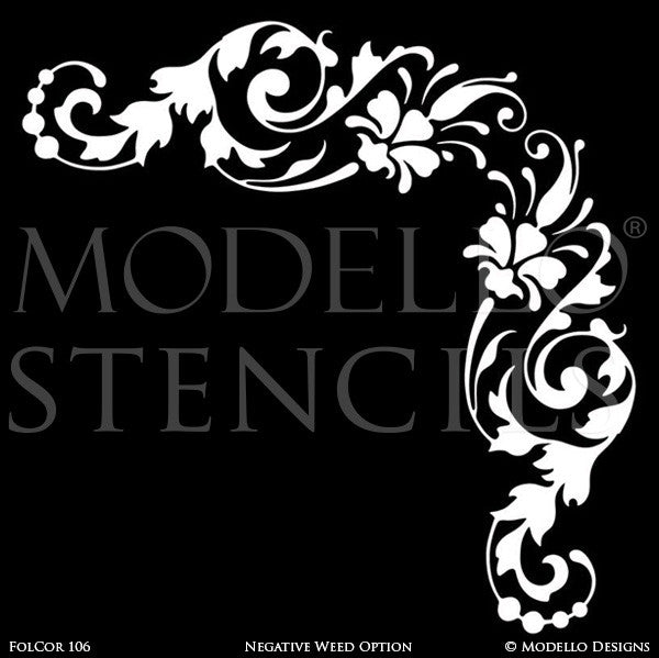 Corner Decals for Painting and Stenciling Custom Wall and Ceiling Designs - Modello Stencils