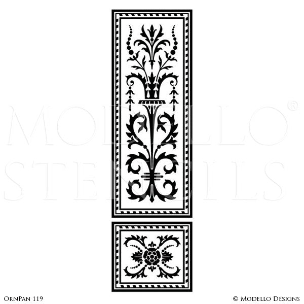 Tall large door wall window panel stencils for vintage ornamental style decorating modello custom wall