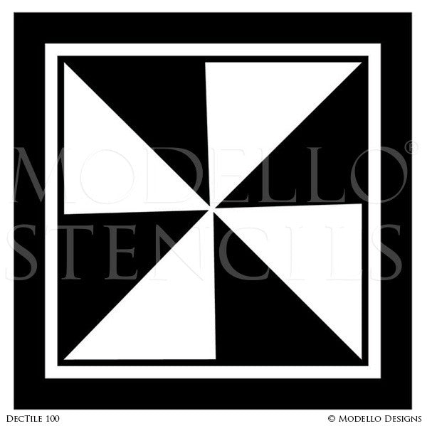 Art Deco Design and Painted Decor - Geometric Tile Stencils from Modello Custom Stencils
