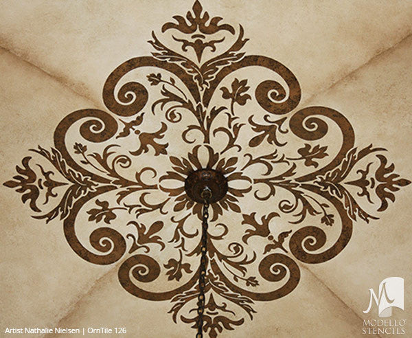 Painted Ceiling Tile Stencils with Classic European Style - Modello Custom Stencils