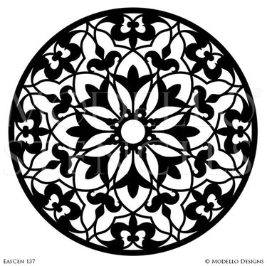 Exotic and Global Chic Decor Idea - Painted Ceiling Medallions Stencils from Modello Custom Stencils