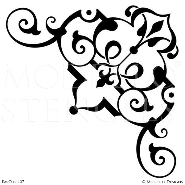 Moroccan, Asian, Indian Decor Ideas and Exotic Interiors - Custom Painted Corner Stencils