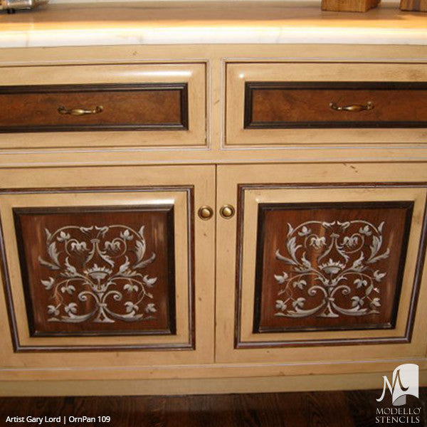 Painted Furniture Cabinet Panels & Wall Panels - Modello Custom Stencils for Decorating