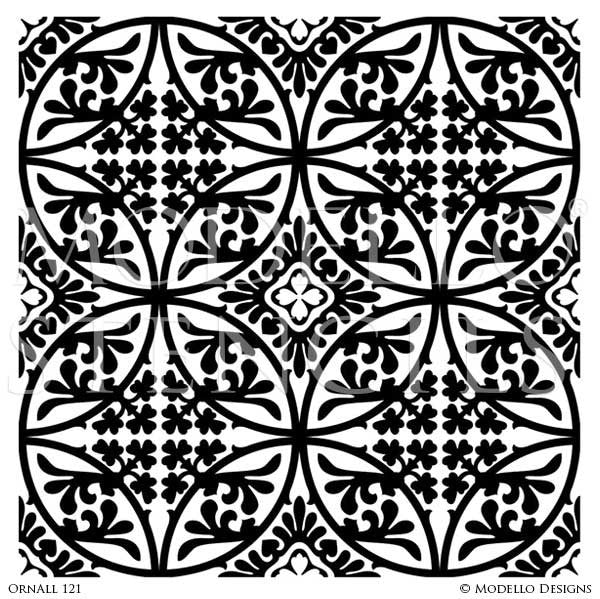 Classic European, Victorian, French Ceiling & Carpet Panels - Painted Decor Custom Stencils - Modello Designs