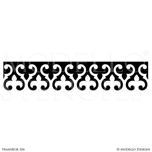 Vinyl Sticker Stencils with Wall Borders Ceiling Borders Designs and Custom Patterns - Modello Custom Stencils