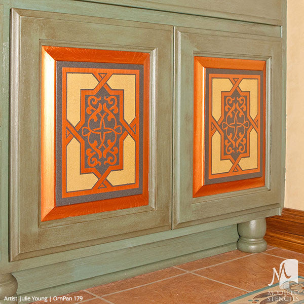 Painting Wood Furniture with Ornate Ornamental Designs - Painted Antique Mirror or Glass - Custom Panel Stencils