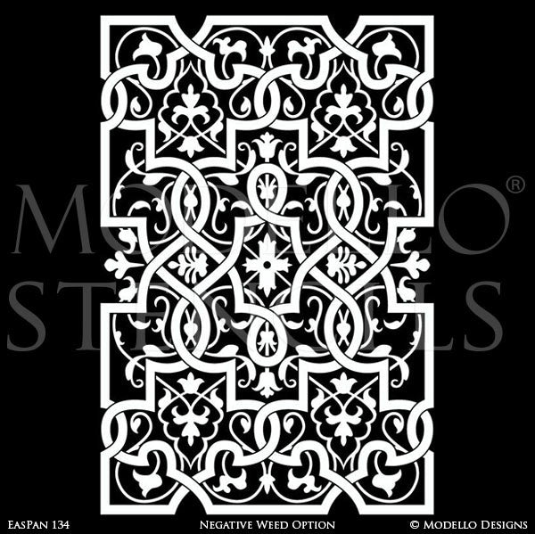 Large Boho Moroccan Indian Asian Wall Panel Stencils - Stenciled Painted Greek Roman Statues Women Goddesses - Modello Custom Stencils for Painted Walls & Furniture Projects