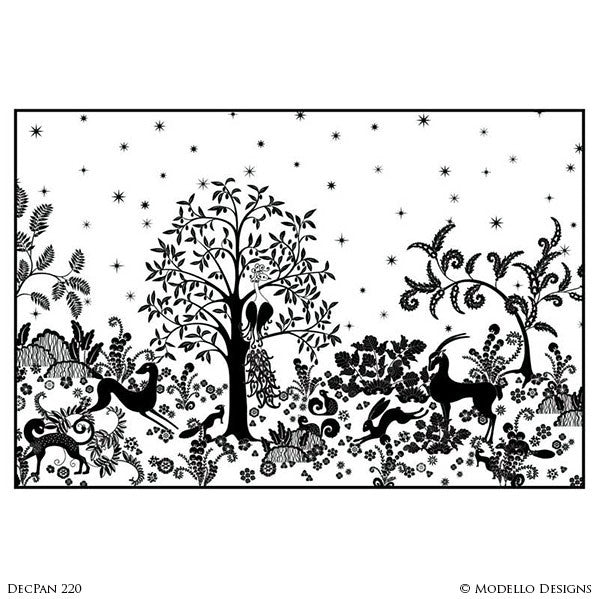 Large Wall Mural with Nature Forest Animal Designs - Decorative Adhesive Wall Stencils for Painting - Modello Designs