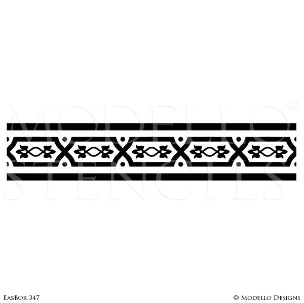 Asian Inspired Home Decor and Designer Wall Border Stencils - Modello Custom Stencils Designs
