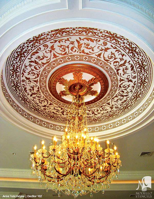 Ceiling Border Stencils or Wall Borders for Decorative Professional Painting Projects - Modello Custom Stencils