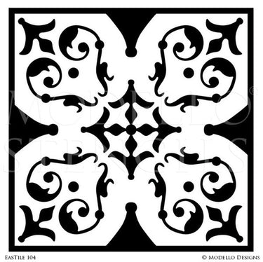 Faux Painted Tile Stencils with Oriental Design - Modello Custom Stencils
