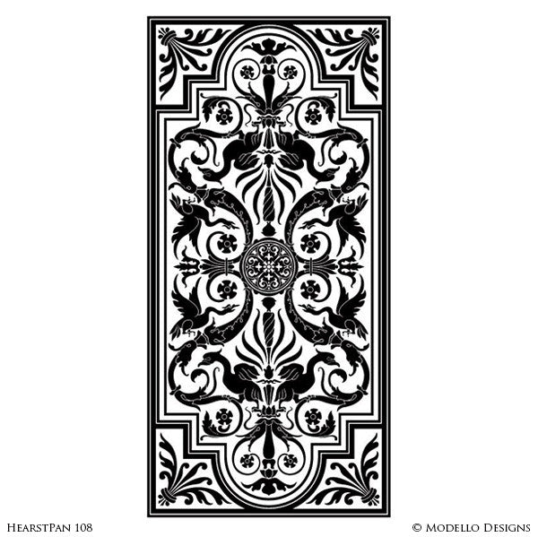 Ordinary European Designs #4: Vintage European Designs Painted On Decorative Wall Panels - Large Modello  Custom Stencils