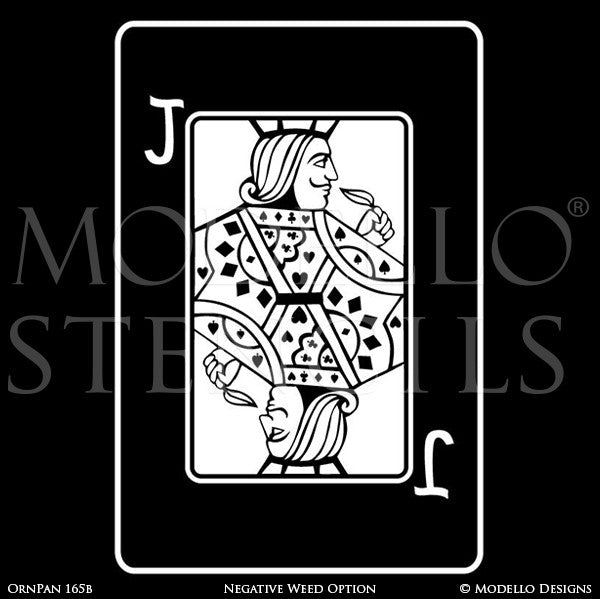 Jack Playing Card Wall Art - Decorative Wall Mural Graphics Stencils - Modello Custom Stencils