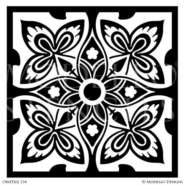 Elegant Faux Tile Look on Backsplash, Floor, or Ceiling Decor - Modello Custom Stencils