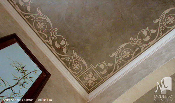 Nature Designs and Leaf Pattern Painted on Ceilings and Walls - Modello Custom Tile Stencils