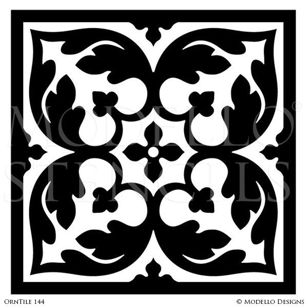 Floor stencils and ceiling stencils with faux tile designs modello custom stencils