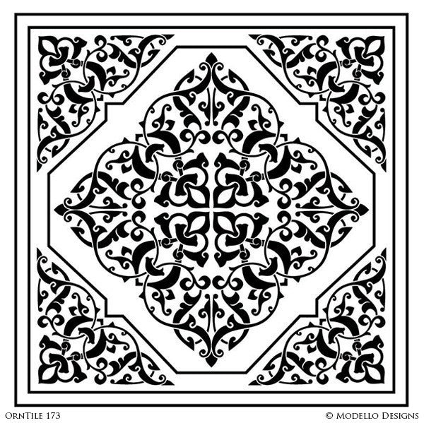 Square Tile Designs for Decorating Custom Painted Walls and Floors and Home Decor - Modello Custom Stencils