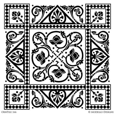 Detailed and Classic Square Tile Stencils with Flower and Modern Designs - Modello Custom Stencils
