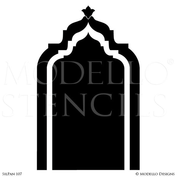 Moroccan Indian Archway Doorway Design - Custom Painted Bohemian Wall Panel Patterns - Modello Custom Stencils
