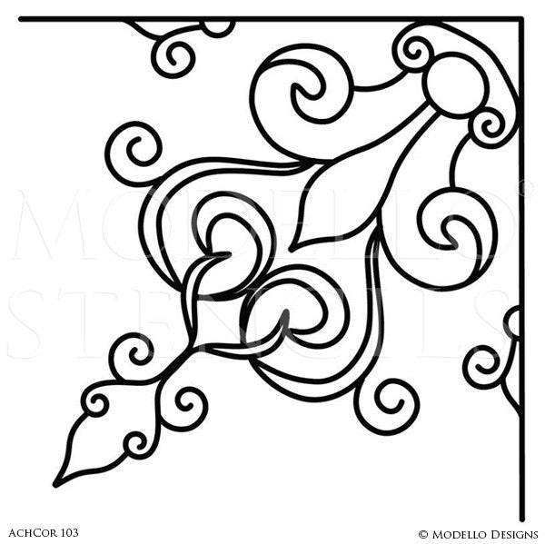 Decorative Stencils for Painting Walls with Designer Wall Mural Corner Look - Modello Custom Stencils