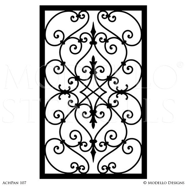 Decorative wall panels stenciling custom designs on walls and painted furniture modello wall stencils