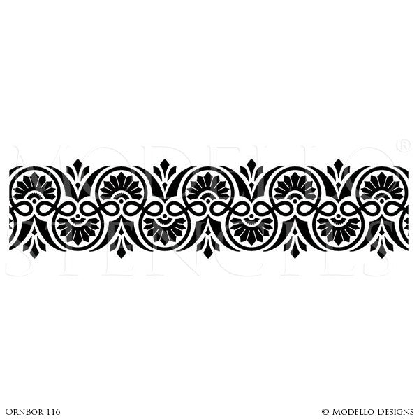 Retro Border Wallpaper Wall Stencils for Victorian or Vintage Interiors - Royal Design Studio