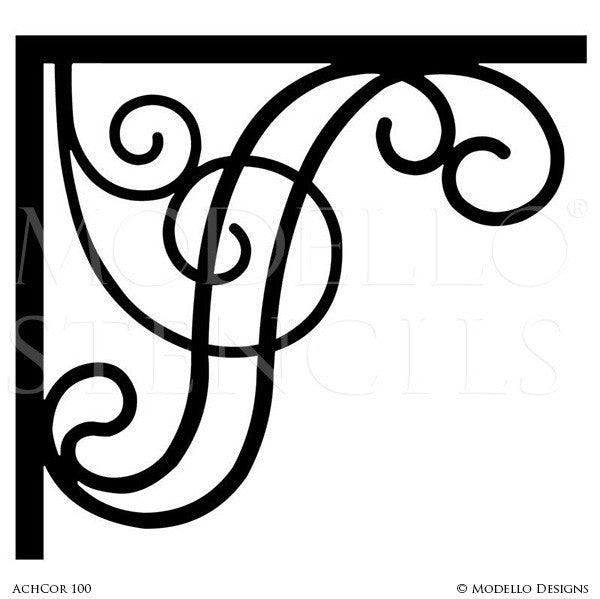 Adhesive Wall Corner Stencils with Decorative Designs for Painting - Modello Custom Stencils