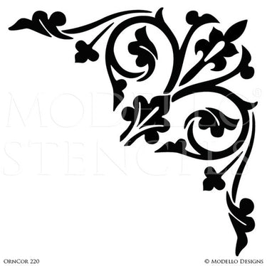 Ornamental Decorative Ceiling Corners for Easy Stenciling - Modello Custom Stencils