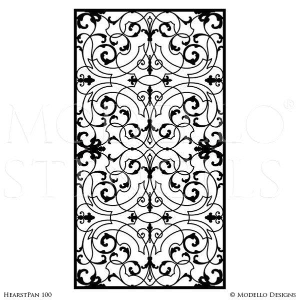 Old world and european design and decor large adhesvie wall panel window stencils modello