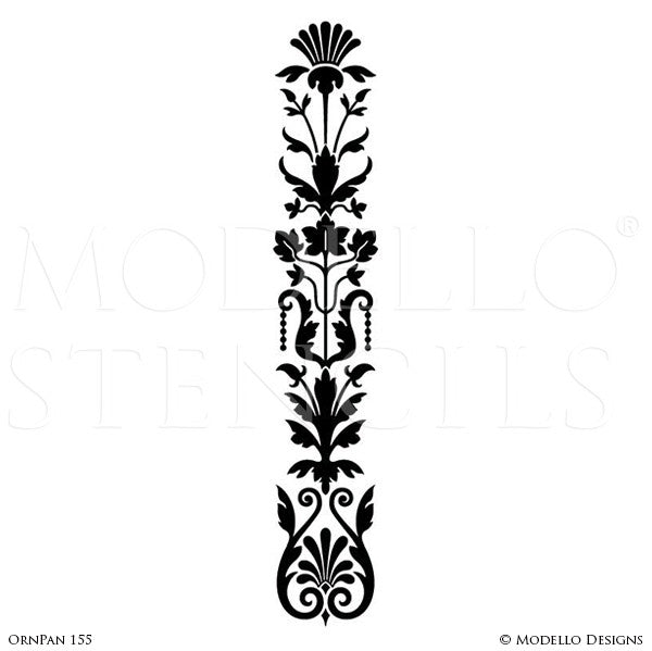 Long Panel Shape Painted on Furniture, Archways, Glass Windows - Large Ornamental Decorative Designs - Modello Custom Furniture Panel Stencils