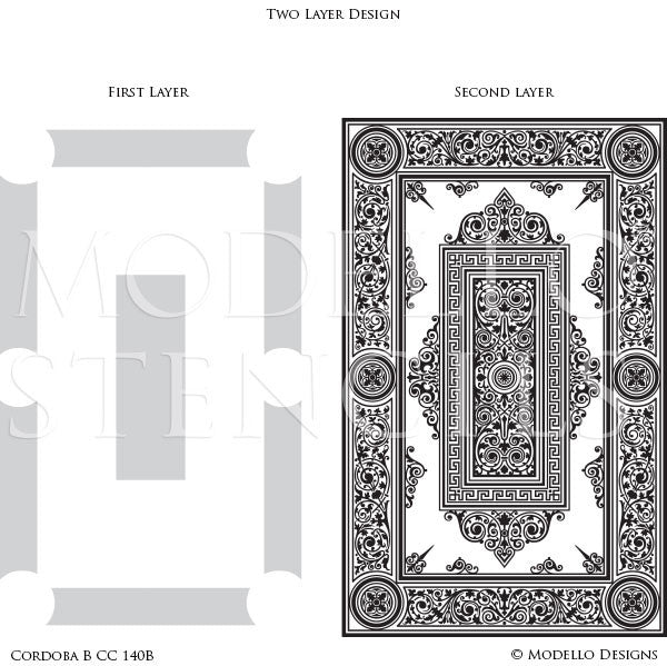 Asian Inspired Home Decor and Large Faux Carpet Floor Stencils - Modello Custom Stencils