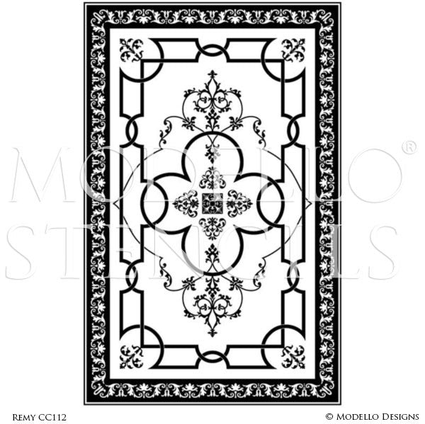 Custom painted carpet floors and classic ceiling stencils modello custom cut vinyl stencils