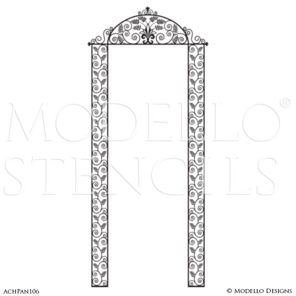 Door Way or Archway Designs Painted Wall Finish - Modello Custom Panel Stencils